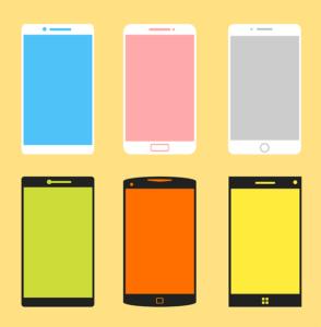 携帯電話6色のイラスト