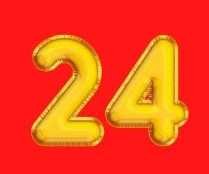 red背景にgold24の数字
