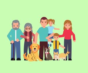 家族と犬と猫のイラスト
