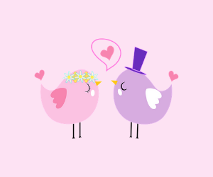 鳥が結婚するイラスト