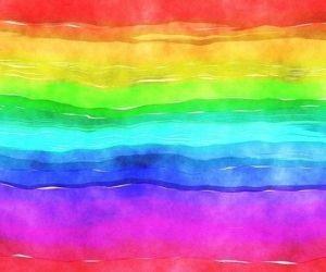 赤青黄色緑ピンク紫の虹色のイラスト