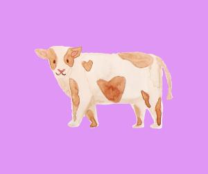 ラベンダーの背景に水彩画の牛のイラスト