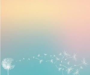 風にタンポポの綿毛が飛んでいる 背景 パステルカラーのグラデーション