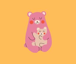 小熊を抱いている母熊のおイラスト