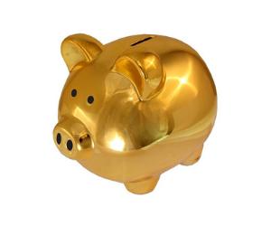 金の貯金箱の画像